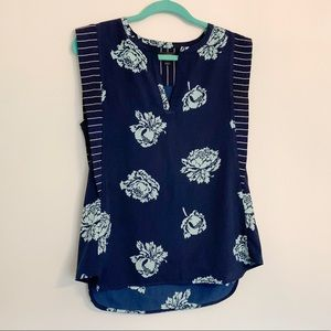 J. Crew Navy Blue Floral Pleated Blouse Tank 6
